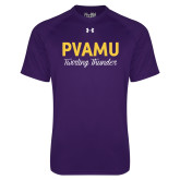 Under Armour Purple Tech Tee-PVAMU Twirling Thunder Script
