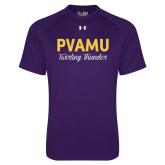 Under Armour Purple Tech Tee-PVAMU Twirling Thunder Script