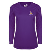 Ladies Syntrel Performance Purple Longsleeve Shirt-PVAM Stacked