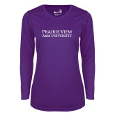 Ladies Syntrel Performance Purple Longsleeve Shirt-Word Mark Stacked