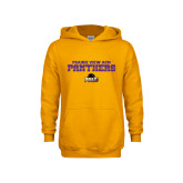 Youth Gold Fleece Hoodie-Collegiate Stacked Prairie View A&M Panthers
