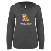 ENZA Ladies Dark Heather V Notch Raw Edge Fleece Hoodie-PVAM Stacked