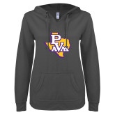 ENZA Ladies Dark Heather V Notch Raw Edge Fleece Hoodie-PVAM Texas
