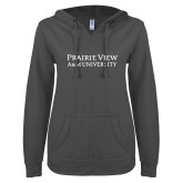 ENZA Ladies Dark Heather V Notch Raw Edge Fleece Hoodie-Word Mark Stacked