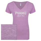 ENZA Ladies Violet Melange V Neck Tee-PVAMU Black Fox Script