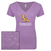 ENZA Ladies Violet Melange V Neck Tee-PVAM Stacked