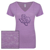 ENZA Ladies Violet Melange V Neck Tee-PVAM Texas Purple Glitter
