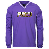 Colorblock V Neck Purple/White Raglan Windshirt-PVAMU