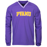 Colorblock V Neck Purple/White Raglan Windshirt-Arched PVAMU