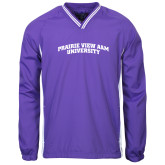 Colorblock V Neck Purple/White Raglan Windshirt-Arched Prairie View A&M