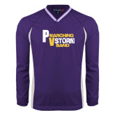 Colorblock V Neck Purple/White Raglan Windshirt-PV Marching Storm Band