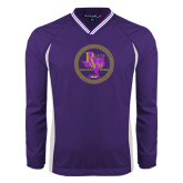 Colorblock V Neck Purple/White Raglan Windshirt-PVAM Marching Band Seal