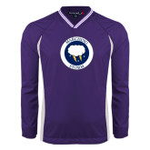 Colorblock V Neck Purple/White Raglan Windshirt-Marching Storm Cloud Circle