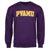 Purple Fleece Crew-Arched PVAMU