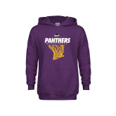 Youth Purple Fleece Hood-Basketball Design