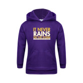 Youth Purple Fleece Hoodie-It Never Rains On The Storm
