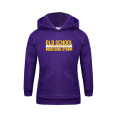Youth Purple Fleece Hoodie-Old School Marching Storm Stacked