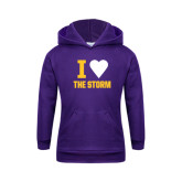 Youth Purple Fleece Hoodie-I Heart The Storm