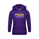 Youth Purple Fleece Hoodie-PVAMU Twirling Thunder Script