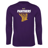 Performance Purple Longsleeve Shirt-Basketball Design