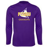 Performance Purple Longsleeve Shirt-Twirling Thunder Grandpa