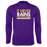 Performance Purple Longsleeve Shirt-It Never Rains On The Storm
