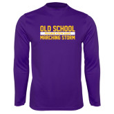 Performance Purple Longsleeve Shirt-Old School Marching Storm Stacked
