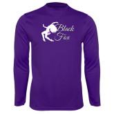 Syntrel Performance Purple Longsleeve Shirt-Black Fox Logo