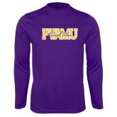 Performance Purple Longsleeve Shirt-PVAMU Black Fox Overlap