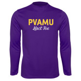 Syntrel Performance Purple Longsleeve Shirt-PVAMU Black Fox Script