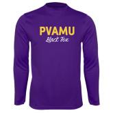 Performance Purple Longsleeve Shirt-PVAMU Black Fox Script