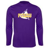 Syntrel Performance Purple Longsleeve Shirt-PVAMU Twirling Thunder Logo