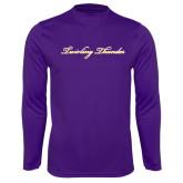 Performance Purple Longsleeve Shirt-PVAMU Twirling Thunder Logo