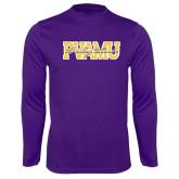Performance Purple Longsleeve Shirt-PVAMU Twirling Thunder Overlap