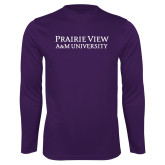 Performance Purple Longsleeve Shirt-Word Mark Stacked