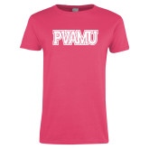 Ladies Fuchsia T Shirt-PVAMU
