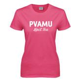 Ladies Fuchsia T Shirt-PVAMU Black Fox Script