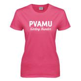 Ladies Fuchsia T Shirt-PVAMU Twirling Thunder Script