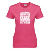 Ladies Fuchsia T Shirt-Praire View marching Storm w/ Majors