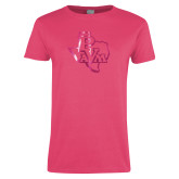 Ladies Fuchsia T Shirt-PVAM Texas  Foil