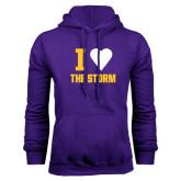 Purple Fleece Hoodie-I Heart The Storm