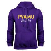 Purple Fleece Hoodie-PVAMU Black Fox Script