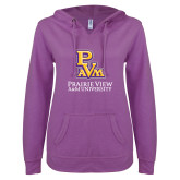 ENZA Ladies Berry V Notch Raw Edge Fleece Hoodie-PVAM Stacked