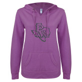 ENZA Ladies Berry V Notch Raw Edge Fleece Hoodie-PVAM Texas Graphite Soft Glitter