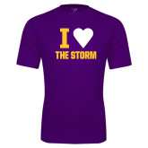 Syntrel Performance Purple Tee-I Heart The Storm