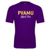 Performance Purple Tee-PVAMU Black Fox Script