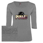 Ladies Grey Heather Tri Blend Lace 3/4 Sleeve Tee-Official Logo