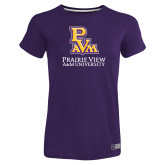 Ladies Russell Purple Essential T Shirt-PVAM Stacked