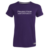 Ladies Russell Purple Essential T Shirt-Word Mark Stacked
