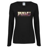 Ladies Black Long Sleeve V Neck T Shirt-PVAMU